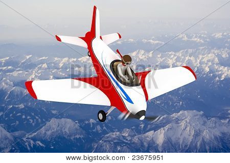 3D Man Going Down With Plane