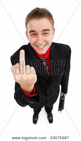 Smiling Cynical Businessman Showing Middle-finger