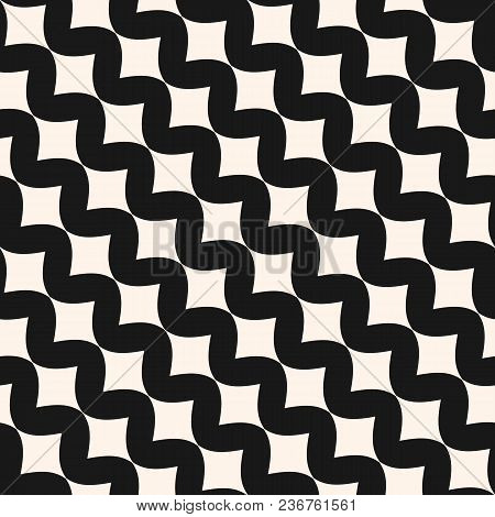 Art Deco Vector Seamless Pattern. Simple Stylish Monochrome Geometric Texture With Smooth Wavy Shape
