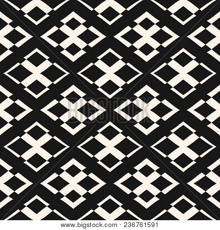 Vector Geometric Texture With Rhombuses And Crosses. Modern Ornamental Seamless Pattern. Abstract Mo