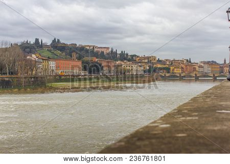 Beautiful panoramic view of the Arno River and the town of Renaissance. Firenze. Florence. Italy poster