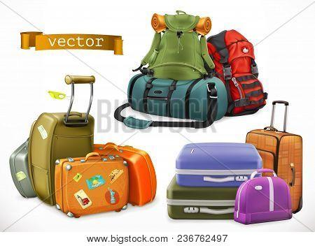 Travel. Bag, Backpack, Suitcase On White Background