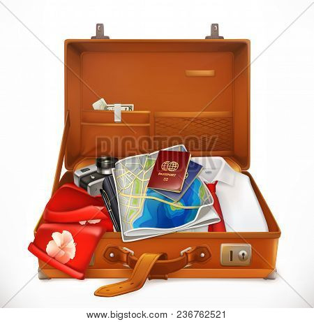 Travel. Open Suitcase. 3d Vector Icon On White Background