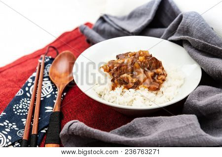 Traditional Home made Chinese cuisine pork rice