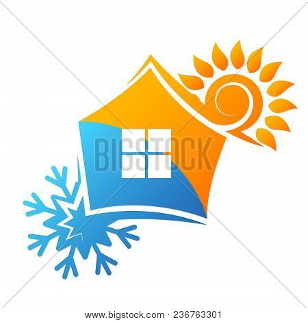 Air Conditioning And Ventilation Symbol House Vector