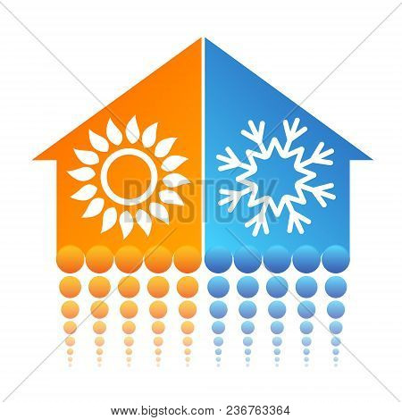 Air Conditioning Snowflake And Sun House Symbol