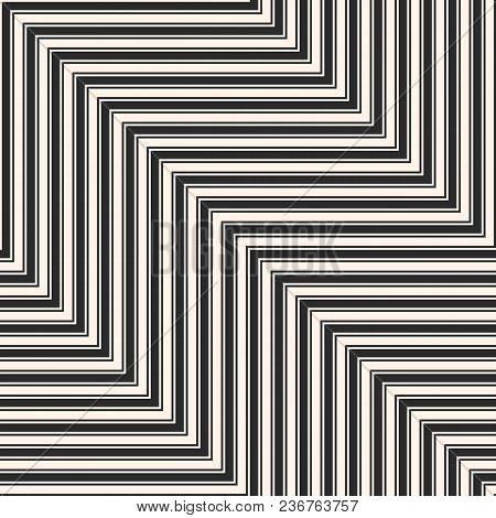 Vector Geometric Zigzag Lines Seamless Pattern. Modern Abstract Black And White Striped Background.