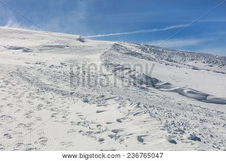 View On The Top Of Mt. Titlis In Switzerland On A Windy Day In Winter. The Titlis Is A Mountain, Loc