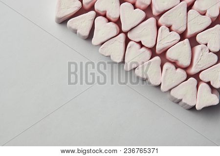Pink Heart Shape From Marshmallow, Valentine Day Love Beautiful Background, Copy Space
