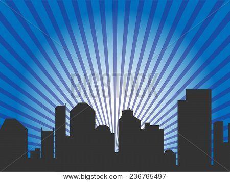 Vector Illustration. A City Skyline In Blue Rays. Eps10