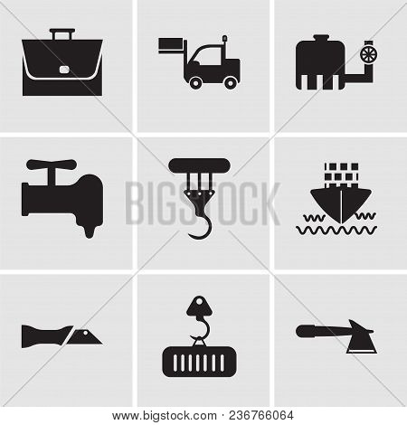 Set Of 9 Simple Editable Icons Such As Hatchet, Crane With Load, Knife, Ship, Crane, Crane, Water Ta