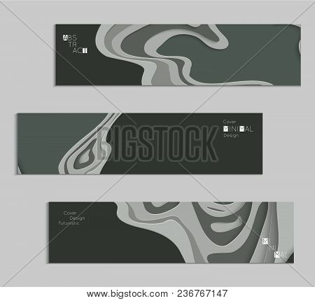 Abstract Banner Template With 3D Paper Cut Art