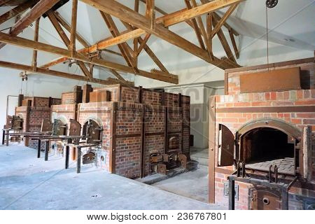 Dachau, Upper Bavaria / Germany - March 2018: Crematorium Inside The Dachau Concentration Camp.