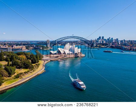 Sydney, Australia. April 10, 2017. Amazing Aerial View Of The Sydney City From Above With Harbour Br