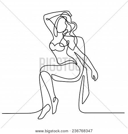 Beautiful Woman In Bikini Sunbathing At The Seaside In Deck-chair - Continuous Line Drawing Vector I