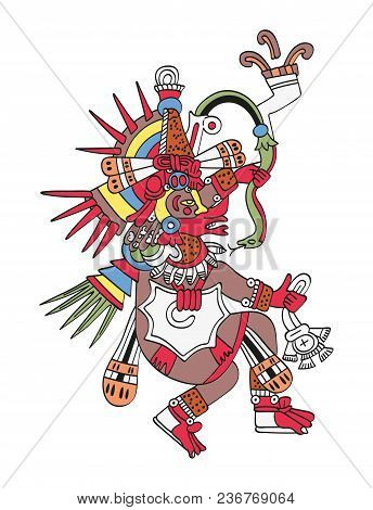 Quetzalcoatl, The Feathered Serpent. God Of Wind And Wisdom. Twin Brother Of Tezcatlipoca. Deity As