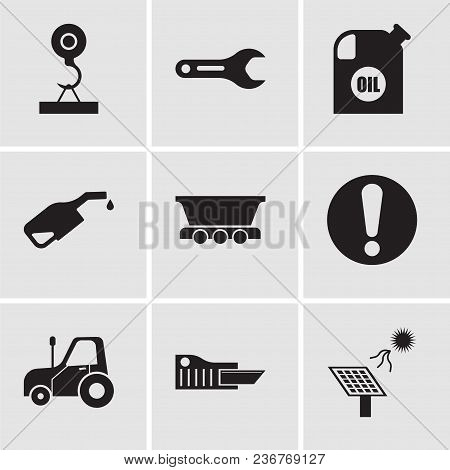 Set Of 9 Simple Editable Icons Such As Solar Battery, Cutter, Autotruck, Exclamation, Freight Wagon,