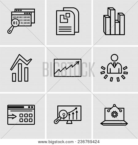 Set Of 9 Simple Editable Icons Such As Laptop Analysis, Analytics Settings, Data Export With An Arro