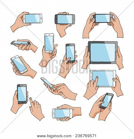 Hands With Gadgets Vector Hand Holding Phone Or Tablet And Character Working On Smartphone Illustrat