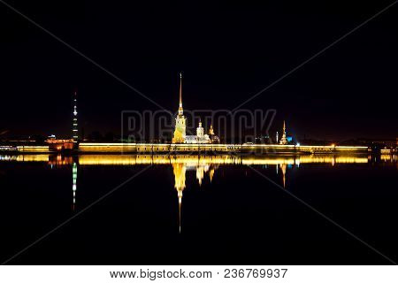 St Petersburg, Russia. Peter And Paul Fortress Aerial View At Night In Saint Petersburg, Russia With