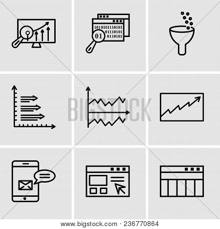 Set Of 9 Simple Editable Icons Such As Table For Data, Data Import Interface, Data Analytics Bars, D