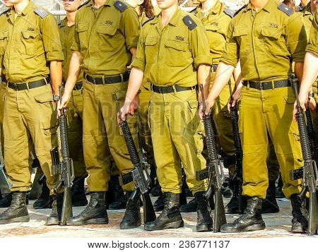 Jerusalem Israel April 16, 2018 Israeli Army Training For The Independence Day Ceremony Front The We