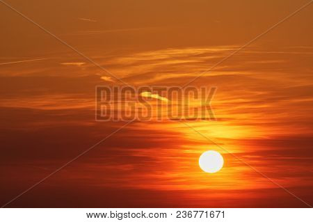 Background Of Colorful Sky Concept: Dramatic Sunset With Twilight Color Sky And Clouds.