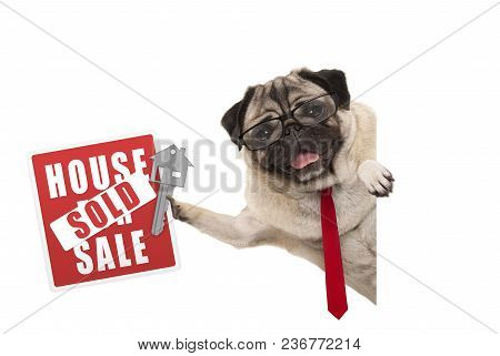Smiling Business Pug Dog With Glasses And Tie, Holding Up Red House Sold Sign And Key, Isolated On W