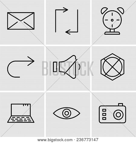 Set Of 9 Simple Editable Icons Such As Photo Camera, Eye, Laptop, Arrow Pointing To Up, Volume Contr