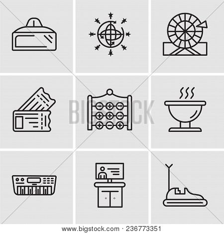 Set Of 9 Simple Editable Icons Such As Bumper Car, Tv, Synthesizer, Bbq, Tic Tac Toe, Tickets, Wheel