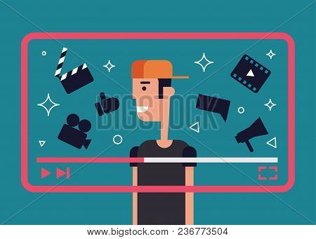 Flat Illustration Of Successful Video Blogger. Boy With Video Frame And Video Theme Icons - Camera,
