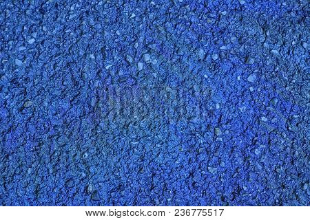 Ultra Blue Oil Spill On Asphalt Road, Abstract Background Or Texture Foe Web Site Or Mobile Devices.