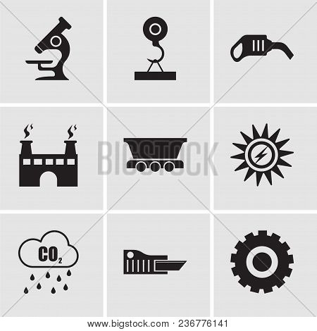 Set Of 9 Simple Editable Icons Such As Setting, Cutter, Co2, Sun Energy, Freight Wagon, Factory, Pum