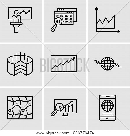 Set Of 9 Simple Editable Icons Such As Mobile Phone Globally Connected, Analytics Settings, Stock, G