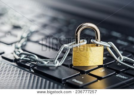 Padlock On Computer Keyboard. Network Security, Data Security And Antivirus Protection Pc.