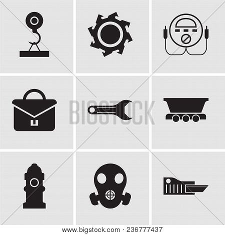 Set Of 9 Simple Editable Icons Such As Cutter, Respirator, Fire Hydrant, Freight Wagon, Adjustable W