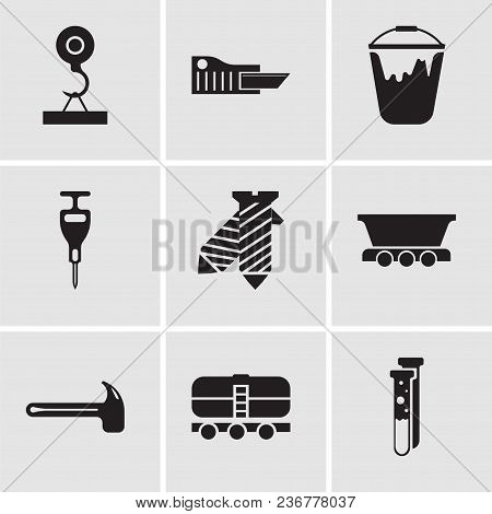 Set Of 9 Simple Editable Icons Such As Capsule, Train, Hammer, Freight Wagon, Tie, Puncher, Colour B