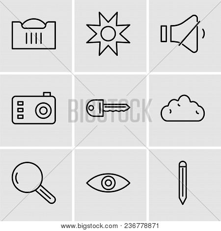 Set Of 9 Simple Editable Icons Such As Edit Tool, Eye, Magnifying Glass, Cloud, Key, Photo Camera, V