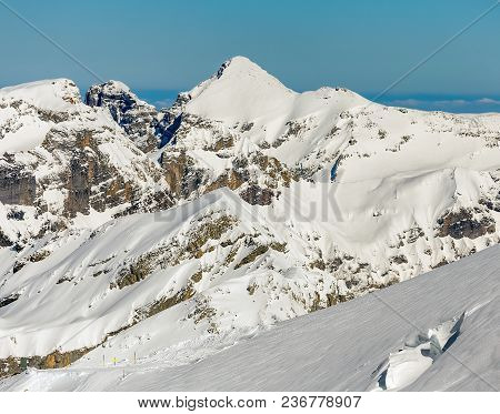 A Wintertime View On Mt. Titlis In Switzerland. The Titlis Is A Mountain, Located On The Border Betw
