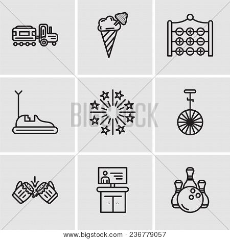 Set Of 9 Simple Editable Icons Such As Bowling, Tv, Beer, Circus, Fireworks, Bumper Car, Tic Tac Toe