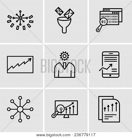 Set Of 9 Simple Editable Icons Such As Bars Chart Page, Analytics Settings, Balancing Data, Mobile S