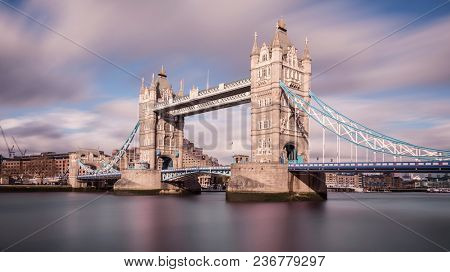longterm exposure of the famous tower bridge in the city of London, Great Britain