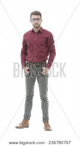 confident and stylish. Full length of serious young man