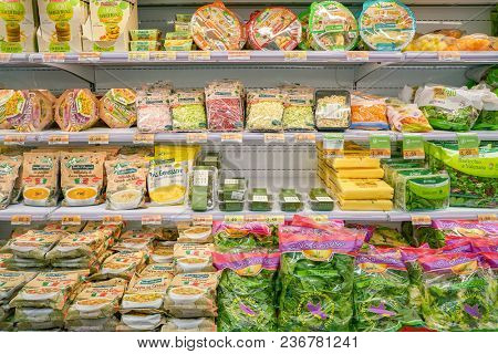 ROME, ITALY - CIRCA NOVEMBER 2017: shelves in a grocery store in Rome.
