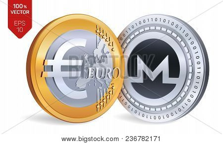 Monero. Euro Coin. 3d Isometric Physical Coins. Digital Currency. Cryptocurrency. Golden And Silver