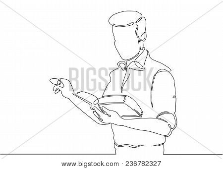 Continuous Single Drawn One Line Teacher With Textbook