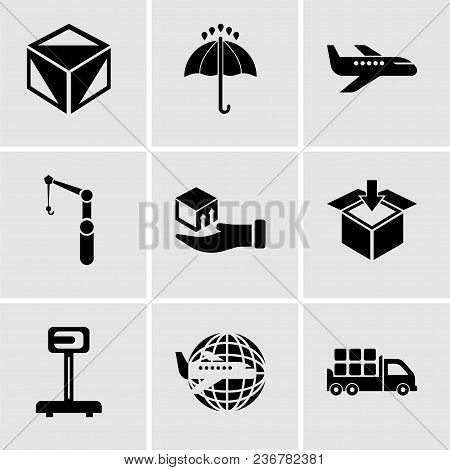 Set Of 9 Simple Editable Icons Such As Boxes Storage For Delivery Inside A Truck Box From Back View,