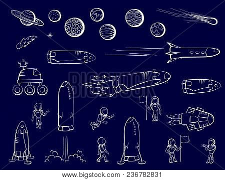 Set Of Vector Illustrations Of Space Objects: Astronaut, Comet, Shuttle, Ship, Rocket Launch, Rover,