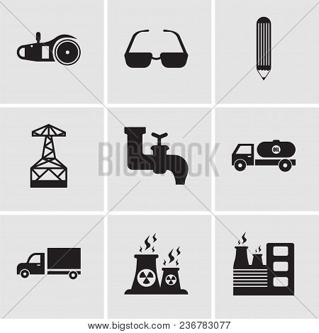 Set Of 9 Simple Editable Icons Such As Factory, Fabric, Truck, Tipper, Faucet, Oil Derrick, Pencil,