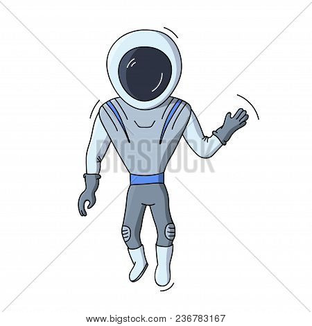 Vector Illustration Of Astronaut Floating In Space. Planet Exploration And Achievement Concept Flyer